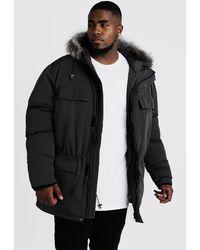 BoohooMAN Big & Tall Faux Fur Hooded Arctic Parka - Multicolour
