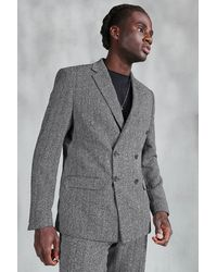 BoohooMAN Slim Herringbone Double Breasted Suit Jacket - Gris