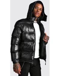 BoohooMAN High Shine Hooded Puffer Jacket - Black