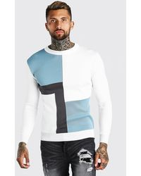 BoohooMAN - Colour Block Muscle Fit Knitted Sweater - Lyst