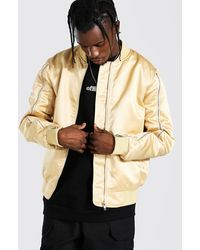 BoohooMAN Zip Sleeve Smart Satin Bomber - Multicolour