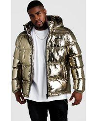 BoohooMAN Big & Tall Metallic Puffer Jacket