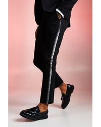 BoohooMAN Plain Skinny Fit Tape Detail Suit Pants - Black