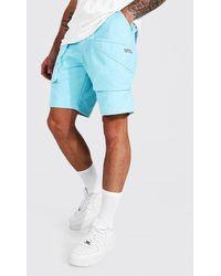 BoohooMAN Lockere Man Cargo-Shorts mit 3D Tasche - Blau