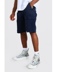 BoohooMAN Cargo-Shorts mit fester Taille - Blau
