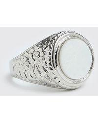 BoohooMAN Chunky Signet Ring With Stone - Metallic