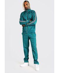 BoohooMAN Man Trikot-Trainingsanzug mit Schachbrett-Print und Streifen - Grün