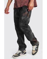BoohooMAN Tall Straight Leg Jeans mit Batik-Optik - Braun