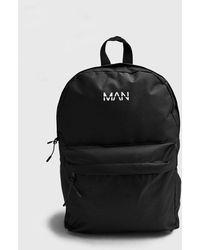 BoohooMAN Man Print Nylon Backpack - Black