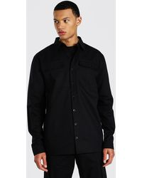 BoohooMAN Tall Utility Pocket Twill Overshirt - Black
