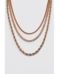 BoohooMAN Gold Plain 3 Layer Necklace - Metallic