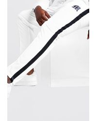 BoohooMAN Big & Tall Tricot Joggers With Side Tape - White