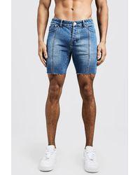 BoohooMAN Slim Fit Seam Detail Raw Hem Denim Shorts - Blue