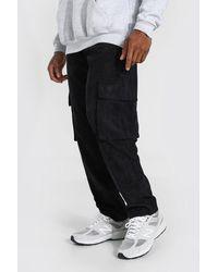 BoohooMAN Cargo-Hose aus Cord, Straight Leg - Schwarz