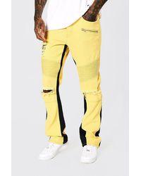BoohooMAN Slim-Fit Biker-Jeans mit Einsatz - Gelb