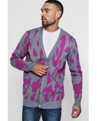BoohooMAN - Leopard Intarsia Knitted Cardigan - Lyst