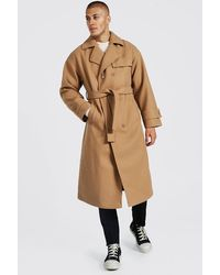 BoohooMAN Double Breasted Storm Flap Trench Overcoat - Natural