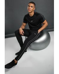 BoohooMAN Man Skinny Fit Jogger With Reflective Piping - Black