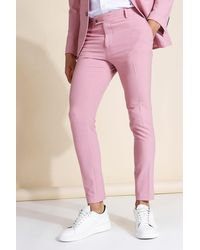 BoohooMAN Super Skinny Pink Suit Trousers