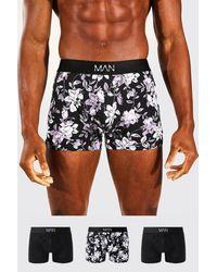 BoohooMAN Lot de 3 boxers à motif floral - Noir