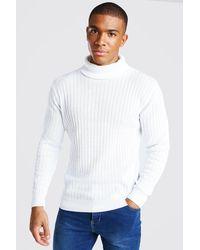 BoohooMAN Ribbed Long Sleeve Roll Neck Jumper - Blanc