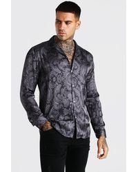 BoohooMAN Long Sleeve Paisley Print Satin Shirt - Black