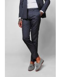 BoohooMAN Crepe Skinny Fit Suit Trousers - Blue
