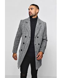 BoohooMAN Wool Blend Herringbone Double Breasted Overcoat - Black