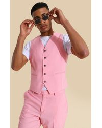 BoohooMAN Skinny Pink Waistcoat