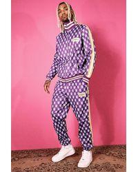 BoohooMAN Trikot-Trainingsanzug mit Trichterkragen und Print - Lila