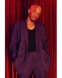 BoohooMAN Veste de costume croisée effet velours coupe relax - Violet