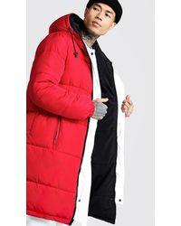BoohooMAN Longline Puffer Jacke mit Wendedesign - Rot