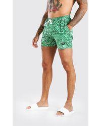 BoohooMAN Man Official Mid Length Bandana Print Trunks - Green