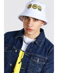 BoohooMAN Trippy Bucket Hat - White