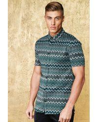 Boohoo - Chevron Metallic Short Sleeve Shirt In Muscle Fit - Lyst
