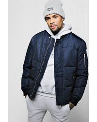 BoohooMAN - Puffer Jacket With Bomber Neck - Lyst