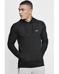 BoohooMAN Man Active Longline Over The Head Embroidered Hoodie - Black