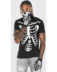 BoohooMAN Halloween Skeleton Hand Jersey Gloves - Black