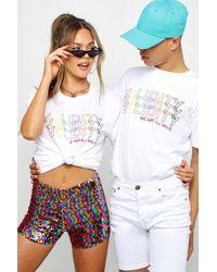 BoohooMAN Pride Loose Fit Validity Gradient Print T-shirt - White