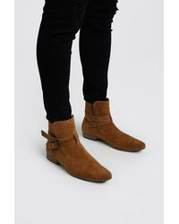 BoohooMAN Faux Suede Double Buckle Chelsea - Brown