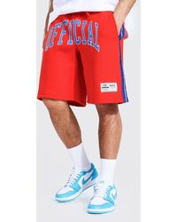 BoohooMAN Official Basketball Jersey Shorts With Tape - Red