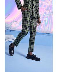 BoohooMAN Skinny Bright Tartan Check Trouser - Green