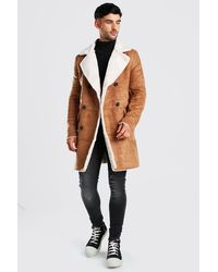 BoohooMAN Longline Faux Fur Double Breasted Overcoat - Marron