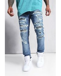 BoohooMAN Skinny Rip & Repair Biker-Jeans mit Bandana-Print - Blau