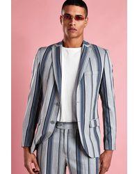 BoohooMAN - Skinny Bold Stripe Blazer - Lyst