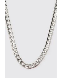 BoohooMAN Short Length Plain Chain Necklace - Metallic