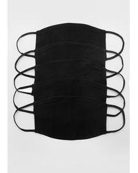 BoohooMAN 5 Pack Plain Fashion Masks - Black