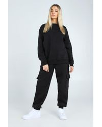 BoohooMAN Hers Loose Fit Utility Sweater Tracksuit - Black