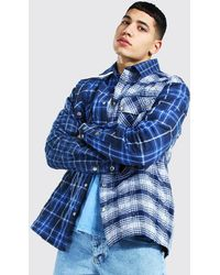 BoohooMAN Quilted Spliced Check Overshirt - Blue