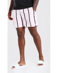 BoohooMAN Big & Tall Vertical Stripe Mid Trunkss - Pink